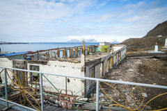 Destroyed buildings in Barentsburg, russian city in Svalbard Royalty Free Stock Photography