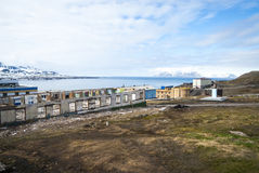 Destroyed buildings in Barentsburg, russian city in Svalbard Stock Photography