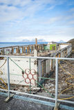 Destroyed buildings in Barentsburg, russian city in Svalbard Stock Photos
