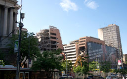 Destroyed buildings in Belgrade downtown during the NATO aggression against Serbia Royalty Free Stock Photos