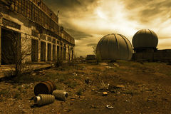 Destroyed buildings in the military town Royalty Free Stock Image