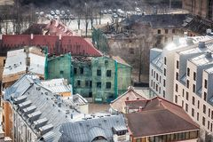 Destroyed buildings of Riga Stock Photography