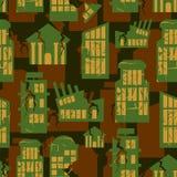 Destroyed Buildings seamless military pattern. city house khaki stock photos