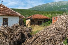 Destroyed buildings in the Serb village Royalty Free Stock Photography
