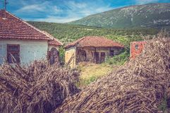 Destroyed buildings in the Serb village Royalty Free Stock Images