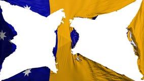 Destroyed Canberra flag. Destroyed Canberra, capital of Australia flag, white background, 3d rendering royalty free illustration