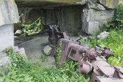 Destroyed cannon of the Battery in Longues-sur-Mer Stock Photos