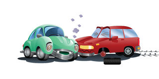 Destroyed car a crash. Illustration of a red car destroyed in a crash hitting green car on isolated white background stock illustration