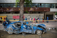 A destroyed car after gas explosion Stock Image