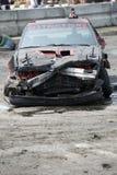 Destroyed car. Napierville demolition derby, July 12, 2015, picture of destroyed car at the end of demolition derby royalty free stock image
