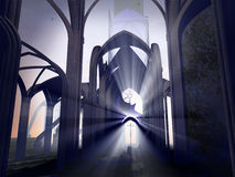 Destroyed cathedral. Ruins of a cathedral. A cross still standing under the sunlight Stock Image