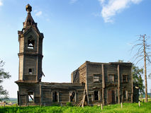 Destroyed church. Dionysius the Areopagite's Church (second half of XVIII century) in Muratovka village, Chelyabinsk region, Russia Stock Photos