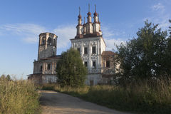 Destroyed Church Christ Resurrection in village Varnitsy. Totemsky district, Vologda region, Russia Stock Photo