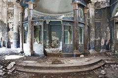 Destroyed church. Interior shot of destroyed altar of Abandoned Church Stock Photo