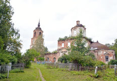 The destroyed Church of St. Nicholas in the village Priluki. The destroyed Church of St. Nicholas in the village Priluki, near Vologda, Russia Stock Image