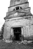 The destroyed Church of St. Nicholas in the village Priluki. The destroyed Church of St. Nicholas in the village Priluki, near Vologda, Russia. Black and white Stock Photo