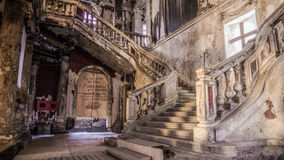 Destroyed church. And staircase with cross Royalty Free Stock Photography