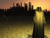 Destroyed city. Traveler before the destroyed city royalty free illustration