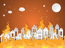 Destroyed City Village with fire. Paper art style Stock Photos