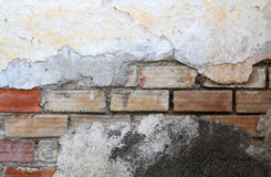 Destroyed Concrete and Brick wall Stock Photo