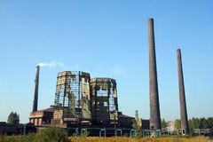 Destroyed cooling towers. On  factory site Royalty Free Stock Images