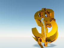 The destroyed dollar Stock Image