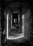 Destroyed at the end of the corridor which is a man. Royalty Free Stock Photo