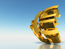 The destroyed Euro. 3d rendering on a background of a blue gradient Royalty Free Stock Photo