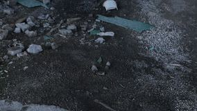 Ruins Of The Destroyed Building Or Premises stock footage