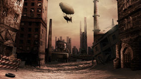 Destroyed factory. Scene with destroyed buildings and airship royalty free illustration