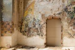 Destroyed frescoes in Marianne Oranska Palace on 10 September 2016 in Kamieniec Zabkowicki, Poland. Royalty Free Stock Photography