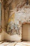 Destroyed frescoes in Marianne Oranska Palace on 10 September 2016 in Kamieniec Zabkowicki, Poland. Stock Photography