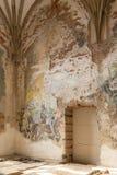 Destroyed frescoes in Marianne Oranska Palace on 10 September 2016 in Kamieniec Zabkowicki, Poland. Stock Photo