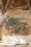 Destroyed frescoes in Marianne Oranska Palace on 10 September 2016 in Kamieniec Zabkowicki, Poland. Royalty Free Stock Image