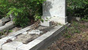 Destroyed the graves at the Jewish cemetery. Varna. Bulgaria. stock video footage