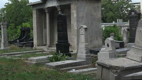 Destroyed the graves at the Jewish cemetery. Varna. Bulgaria. stock video