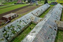 Destroyed greenhouses Stock Photo
