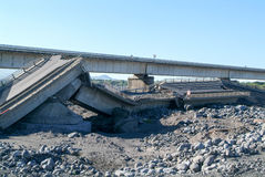 Destroyed highway of La Reunion island Stock Images