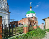 The destroyed Holy Trinity Church in the village Karacharovo nea Stock Image