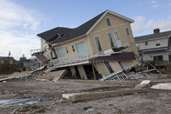 Destroyed homes in  Far Rockaway. NEW YORK - October 31:Destroyed homes in  Far Rockaway after Hurricane Sandy October 29, 2012 in New York City, NY Royalty Free Stock Photo