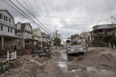 Destroyed homes in  Far Rockaway. NEW YORK - October 31:Destroyed homes in  Far Rockaway after Hurricane Sandy October 29, 2012 in New York City, NY Stock Photography
