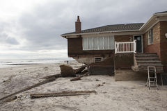 Destroyed homes in  Far Rockaway. NEW YORK - October 31:Destroyed homes in  Far Rockaway after Hurricane Sandy October 29, 2012 in New York City, NY Royalty Free Stock Images