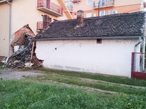 Destroyed house as result of terrible flood Stock Image