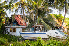 Destroyed House with boats Royalty Free Stock Photo