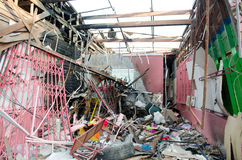 Destroyed house from bomb effect Royalty Free Stock Photography