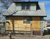 Destroyed house five month after Hurricane Sandy in Staten Island, NY Stock Photo