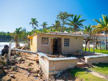 Destroyed house from hurricane Maria in Puerto Rico royalty free stock image