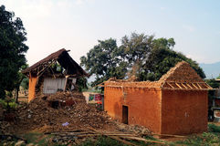 Destroyed house in a village Stock Photo