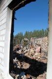 Destroyed house. In the village Krasny Liman Donetsk region, Ukraine royalty free stock image