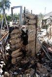 Destroyed house. In the village Krasny Liman Donetsk region, Ukraine royalty free stock images